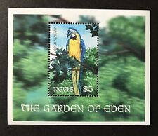 NEVIS 2001 MNH THE GARDEN OF EDEN BLUE & GOLD MACAW SS BIRD WILD ANIMALS STAMPS