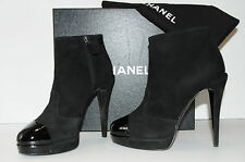 NEW CHANEL BLACK SUEDE PATENT BOOTIES Platform ANKLE BOOTS SHOES 41 10.5