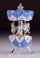 Blue Easter Egg Horse Carousel Trinket Box by Keren Kopal music box w/ crystal