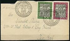 GERMANY LUBECK SET SCOTT#B316/17 1951 SPECIAL CANCEL COVER TO NY ULEFT MISSING