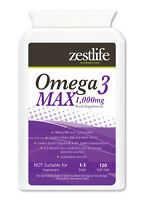 Zestlife Omega 3 MAX 1000mg 120 soft gels healthy joints, heart, skin and brain