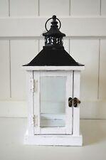 Laterne Holz Windlicht eckig weiß ca.37cm Deko Shabby Metall-Dach Lampe Garten