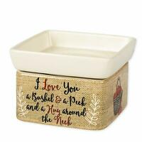Elanze I Love You A Bushel and A Peck Stoneware Candle and Wax Tart Oil Warmer