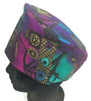 Vintage Pillbox Hat Celestial Moon Stars Purple Blue Geometric Fashion Womens