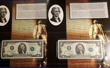 2009 USA $2 TWO DOLLAR SAN FRANCISCO & BOSTON FEDERAL RESERVE NOTES UNC BEP