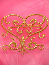 Gb141 Embroidered Applique Gold Metallic Iron On Patch 4""
