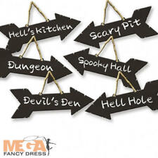 Halloween Party 6 x Direction Spooky Signs Trick Or Treat Hanging Decorations