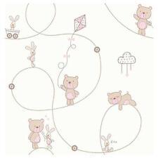 CAROUSEL PINK TEDDY & BUNNY CHILDRENS KIDS NURSERY BABY GIRLS WALLPAPER DL21103