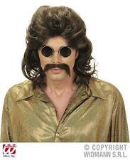 Marrone 70's MUGGINE Parrucca & Baffi Costume Set Starsky & Hutch Cop
