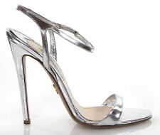 Prada Silver Specchio High Heel 120mm Ankle Strap Slingback Sandals 37.5 7.5