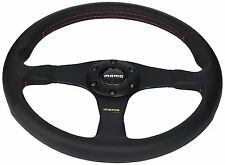 MOMO Tuner 350mm Black Leather Red Stitch Steering Wheel - TUN35BK0B - IN STOCK!