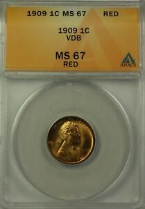 1909 VDB Lincoln Wheat Cent Penny 1c Coin ANACS MS-67 Red Brilliant Coin