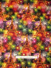 Patriotic France Fabric - Fireworks Eiffel Tower C3959 Timeless Treasures - Yard