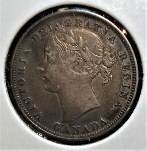 1858 Silver Canadian 20 Cents Coin, Rarer