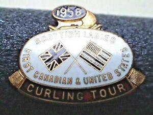 Vintage 1958 Scottish Ladies First Canadian & United States Curling Tour Pin