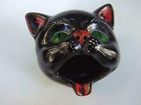 Retro Vintage 50's Ceramic Black Cat Figurine Astray  Green Eyes Kitch Japan