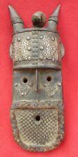 Vintage Namji Tribe Horned Fetish Mask With Amulet & Metal Plating ~ Cameroon