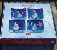 New Oneida Snow Pals Set of 4 Stoneware Coffee Mugs Snowman Winter Christmas