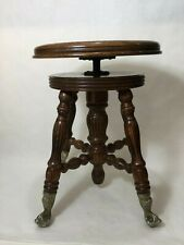 "Vintage Victorian Oak Ball Claw Adjustable Piano Stool, 18 1/2"" - 22"" H, 14"" Dia"