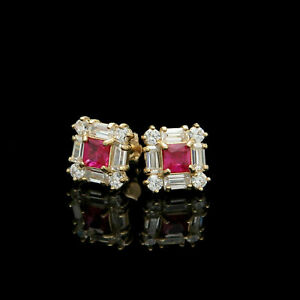 1CT Princess Ruby Baguette Round Diamond Earrings Square Stud 14K Yellow Gold FN