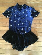 Cute Ice Skating outfit girls large Deep blue with butterflies