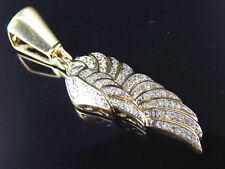 "Real 10K Yellow Gold Genuine Diamond Mini Wing Of An Angel Pendant (.40Ct) 1.25"""