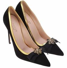 NEW GUCCI LADIES BLACK SUEDE BEE EMBROIDER CLASSIC PUMPS SHOES 37/7