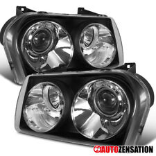 For 2005-2010 Chrysler 300 Base Black Projector Headlights Lamps Pair