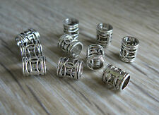 10 mini silver tone alloy dreadlock beads hair braid / beard beads 4mm hole - UK