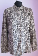 VTG 90s Ladies Unbranded Grey/Black Patterned Longsleeved Blouse Size 14