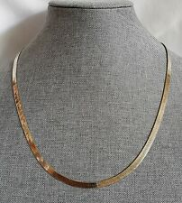 New listing 925 Italy Gold over Silver Flat Herring Bone Vintage Necklace