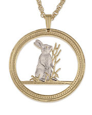 "Rabbit Pendant & Necklace Chinese Year Of The Rabbit Coin 1-1/4"" Dia. ( # 672 )"