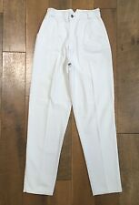 Vintage 90's SEATTLE BLUES High Waisted WHITE JEANS Suspender Buttons Junior 11