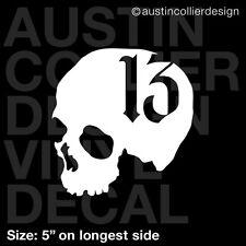 "5"" SKULL w/ NUMBER 13 vinyl decal car truck laptop sticker - moto x fmx evil"