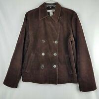 Jones New York Womens Pea Coat Double Breasted Corduroy Jacket Size M Brown
