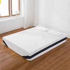 """White 12"""" Inch Queen Size COOL & GEL Memory Foam Mattress Medium Firm"""