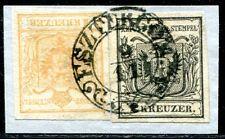 ÖSTERREICH 1850 1Xc BRAUNORANGE+2X LUXUS UNGARN ESZTERGOM ATTEST(S7905