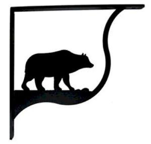"Wall Shelf Bracket Pair Of 2 Bear Pattern Wrought Iron 7.25"" L Crafting Wildlife"