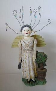 """Bethany Lowe Christmas Storybook Guardian Gardner Angel jointed arms 10"""" retired"""