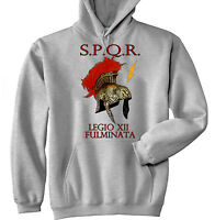 SPQR ROME LEGIO FULMINATA 1 - NEW COTTON GREY HOODIE - ALL SIZES IN STOCK