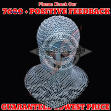 Aluminium Chain Mail Hood V-Neck ( chainmail coif ) Re-enactment / LARP / SCA