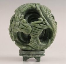 PRECIOUS CARVING DRAGON STATUE FOUR-STORY TURNING GOOD LUCK JADE BALL