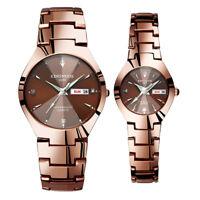Quartz Analog Digital Waterproof Watch Stainless Steel Date Wristwatch Men Women