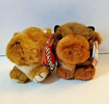 "~Vintage 90s Puffkins ""Biff"" Buffalo & ""Bosley"" Bulldog Plush Keychain, Cute!!~"