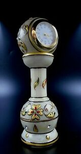 White Marble Painted Hand Painted Decorative Table Pedestal Clock Watch