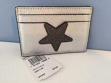 Coach Star Flat Card Case in Metallic Silver Leather ~ F24184