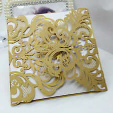 60PCS Beige Gold Laser Cut Paper Wedding Invitation Card Greeting Party Cards
