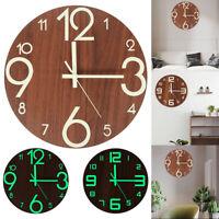12 '' horloge murale 3D lumineuse verte créative pendaison en bois horloge LB