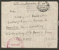 Palestine 1946 Exempt Censor Postage Free Civil Censor To Germany (2czg)