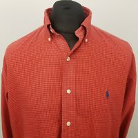 Polo Ralph Lauren Mens Vintage Shirt 2XL Red Classic Fit Check Cotton BLAKE